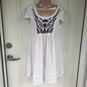 Cotton Express white embroidered tunic top
